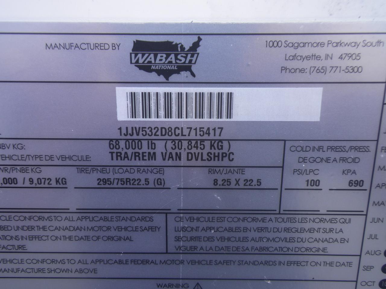 2012 WABASH    53X102 VAN